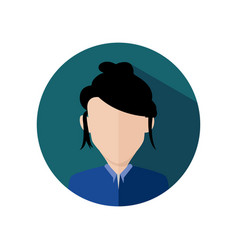 Messy hair business women circular icon graphic vector