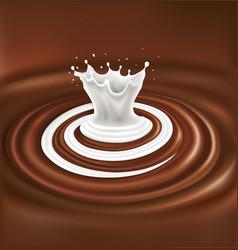Milk swirl splash on chocolate waves background vector