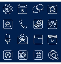 Mobile applications icons outline vector
