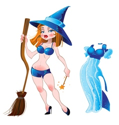 nude sexy witch and blue dress vector image