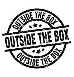 Outside the box round grunge black stamp vector
