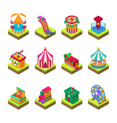 Park amusement attraction park with carousels kid vector