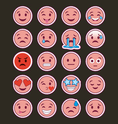 Pink smile emojis collection with dark background vector