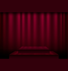 Red curtain stage scene with spotlights and vector