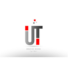 Red grey alphabet letter ut u t logo combination vector