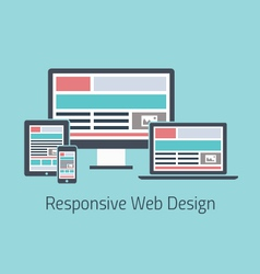Responsive web design development flat styl vector