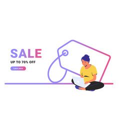 Sale up to 70 off creative promo banner vector