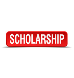 Scholarship red 3d square button isolated on white vector