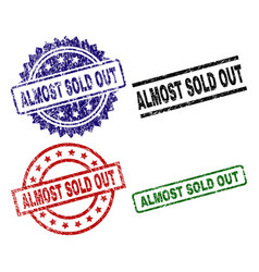 scratched textured almost sold out seal stamps vector image