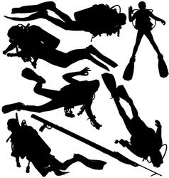 Scuba diver speargun silhouettes vector