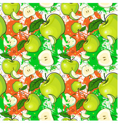 Seamless pattern green apples fruits summer vector