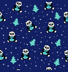 seamless pattern with an animal bear panda with vector image