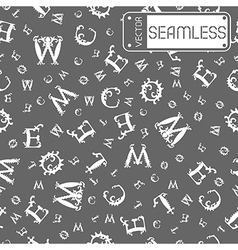 Seamless vintage pattern with white curved letters vector image