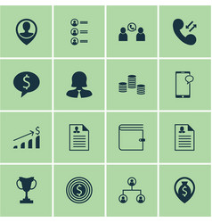 Set of 16 management icons includes business deal vector