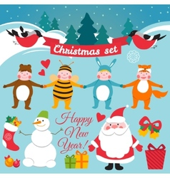 Set of colorful christmas characters and vector image