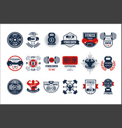 Set of original gym logo templates emblems vector