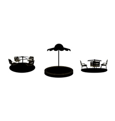 Set of Silhouette Swing Black on White Background vector image vector image