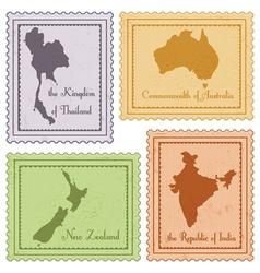 Set of vintage stamps vector