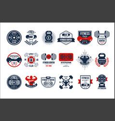 Set original gym logo templates emblems vector