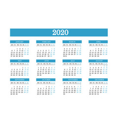 Simple layout calendar for 2020 vector