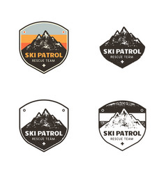 Ski club patrol labels vintage hand drawn vector
