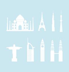 skyline tower building christ statue taj mahal vector image