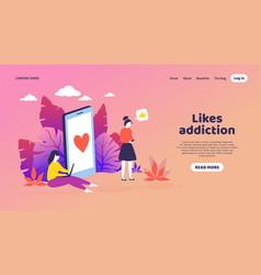 Social media landing page trendy mockup vector