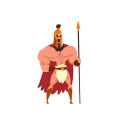 Spartan warrior in golden armor and red cape with vector
