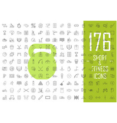 sport and fitness linear icons big set healthy vector image