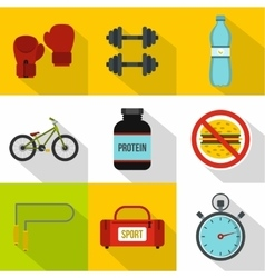 Sport icons set flat style vector