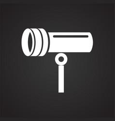 Studio flash light icon on black background for vector