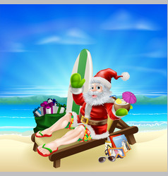 surf summer santa vector image