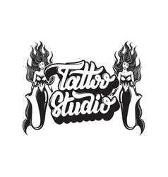 Tattoo studio handwritten lettering hand drawn of vector