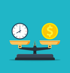 Time is money on scales icon vector