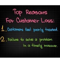 Top reasons to customer loss vector