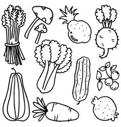 Vegetable object doodles vector