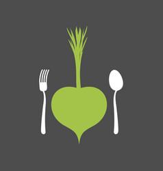 Vegetarian food logo vegetable and cutlery fork vector