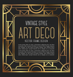 Vintage frame art deco style vector