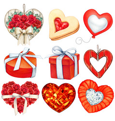 watercolor red valentines day decorations vector image