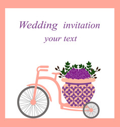 wedding card with bicycle and flowers vector image