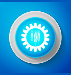 wheat and gear icon industrial and agricultural vector image