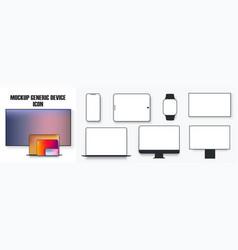 white desktop computer display screen smartphone vector image