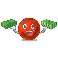 With money bag mars planet mascot cartoon vector
