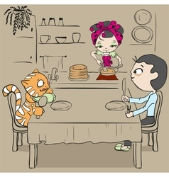 Woman bakes pancakes Cat and man waiting for vector