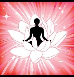 woman in yoga lotus flower asana vector image