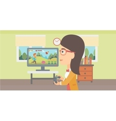 Woman playing video game vector