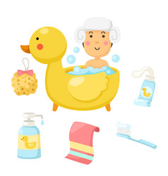 Woman takes a bath set vector