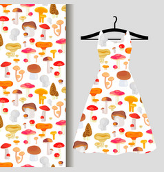 women dress fabric pattern with mushrooms vector image