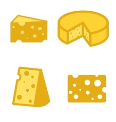 yellow cheeses icons set vector image