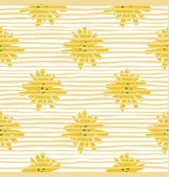 Yellow daisy pattern in doodle style on stripes vector